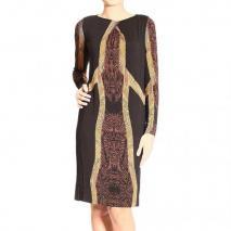 Etro Long sleeve round neck jersey print dress