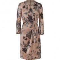 Etro Nude/Graphite Flower Patterned Wool/Silk Kleid