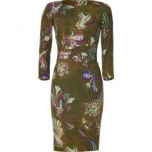 Etro Olive Flower Patterned Silk Kleid With Piping Detailing