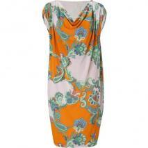 Etro Orange/Lilac-Multi Printed Jersey Kleid