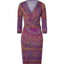 Etro Purple/Curry Paisley Print Jersey Kleid