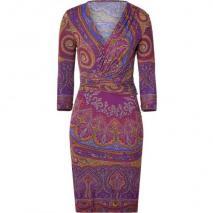 Etro Purple/Curry Paisley Print Jersey Kleid