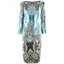 Etro Royal Multi Print Drape Dress