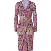 Etro Scarlet-Multi Paisley Print Jersey Wrap Kleid