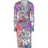 Etro Silver Grey/Coral-Multi Printed Jersey Kleid