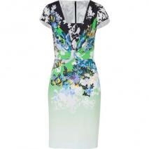 Etro Tonal Green/Blue-Multi Printed Silk Kleid