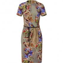 Etro Topaz/Amethyst Water Color Belted Kleid
