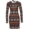 Evaw Wave Tala Strickkleid brown indian allover
