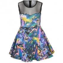 Fairground Pretty Woman Rainbow Cocktailkleid / festliches Kleid bunt