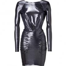 Faith Connexion Silver Metallic Draped Dress