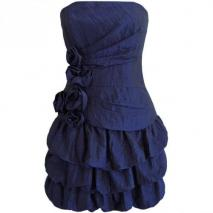 Fashionart Ballkleid blau Schulterfrei Trägerlos