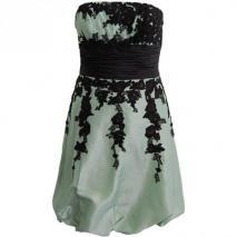Fashionart Ballkleid hellblau mit schwarzen Blumenmustern