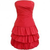 Fashionart Ballkleid rot Trägerlos