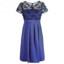 Fashionart Cocktailkleid blau mit kurzen Ärmeln und Spitze