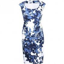 Fashionart Etuikleid blau weiß Muster