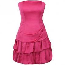 Fashionart kurzes Ballkleid pink Schulterfrei mit Raffungen
