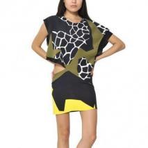 Felipe Oliveira Baptista bedrucktes Seiden-Krepp-Kleid Mit Ausschnitten Gelb Schwarz