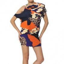 Felipe Oliveira Baptista bedrucktes Seiden-Krepp-Kleid Mit Ausschnitten Orange Violett