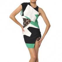 Felipe Oliveira Baptista bedrucktes Seiden-Krepp-Kleid Mit Ausschnitten Schwarz Grün Weiß