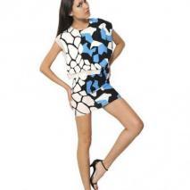 Felipe Oliveira Baptista bedrucktes Seiden-Krepp-Kleid Mit Ausschnitten Weiß Blau