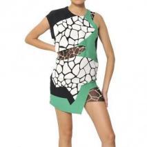 Felipe Oliveira Baptista bedrucktes Seiden-Krepp-Kleid Mit Ausschnitten Weiß Grün