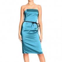 Frankie Morello Satin chain neck belt strapless dress
