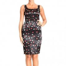 Frankie Morello Satin cherries blades print sheath dress