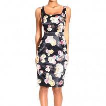Frankie Morello Stretch satin floral print dress