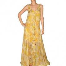 Galliano Langes Kleid Print Auf Seiden Georgette