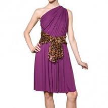 Giambattista Valli Leopard Bedruckter Gürtel Viskose Jersey Kleid