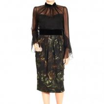 Gucci Long sleeve silk chiffon print skirt dress