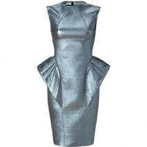 Hakaan Shiny Blue Peplum Sheath Dress