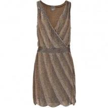 Haute Hippie Kleid mit Pailletten taupe