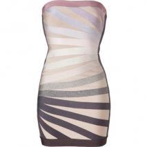 Hervé Léger Beige-Multi Strapless Bandage Dress