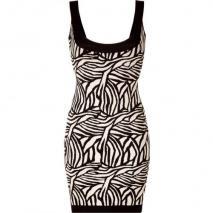 Hervé Léger Black/Cream Patterned Bandage Dress