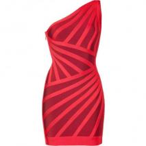 Hervé Léger Lipstick/Cranberry One Shoulder Bandage Dress
