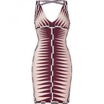 Hervé Léger Nude/Multi Color V-Neck Bandage Dress