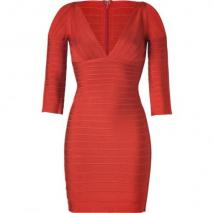 Hervé Léger Red Clay V-Neck Bandage Dress