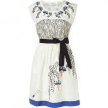 Hoss Intropia Ecru Blue Art Deco Embroidered Dress