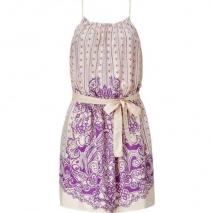 Hoss Intropia Ecru/Lila Printed Dress with Belt