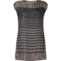 Hoss Intropia Mole Grey Sequined Silk Shift Dress