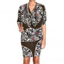Iceberg 3/4 sleeve jersey ring neck print dress