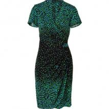 Issa Black/Green/Blue Print Side Drape Dress