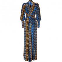 Issa Denim Blue/Honey Zebra Print Silk Maxi Dress