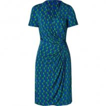 Issa Royal/Green Side Drape Viscose Jersey Dress