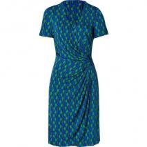 Issa Royal/Green Side Drape Viscose Jersey Dress