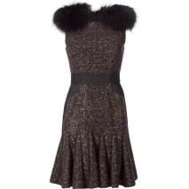 J Mendel Chocolate Sequined Wool Dress