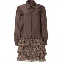 Jay Ahr Maroon Silk Blouse and Pleated Skirt Dress