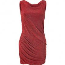 Jay Ahr Red Draped Lurex Dress