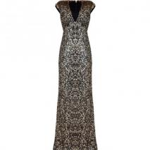 Jenny Packham Black/Gold Sequin Gown